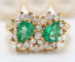 Women Natural Emerald And Diamonds 1.80 Ctw In 14k Solid Yellow Gold Ring