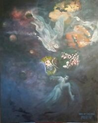 Original Oil Painting Jesus Christ Birth And The Angelic Conflict 39 X 49
