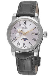 Gevril Menand039s 2529 Cortland Silver Dial Black Leather Date Wristwatch