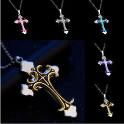 Cross Pendant Necklace Stainless Steel Unisex Crucifix Men Women With Chain $9.40