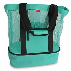 Mesh BeachPool Tote Bag with Insulated Picnic Cooler; Grocery Market - Large