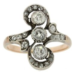 Antique Victorian 14k Rose Gold Sterling Silver .50ctw Diamond Ring Size 7.25