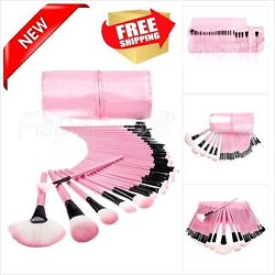 Makeup Brush Soft 32 Piece Pink Leather Case Cosmetic Bag Tool Set Professional