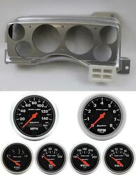87-89 Mustang Silver Dash Carrier W/ Auto Meter Sport Comp Electric Gauges