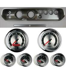 65 Chevelle Silver Dash Carrier W/ Auto Meter 3-3/8 American Muscle Gauges