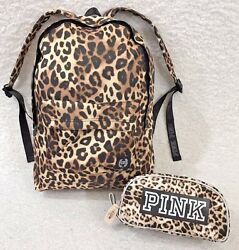 Victoria Secret PINK Animal Print Backpack & Make Up BagCase