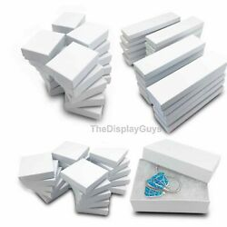 White Swirl Cotton Filled Gift Boxes Jewelry Cardboard Box Lots of 12 25 50 100