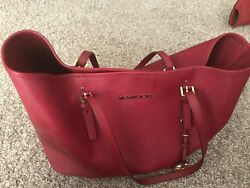 Michael Kors Women Designer Large Tote Handbag Bag Red Burgundy Leather