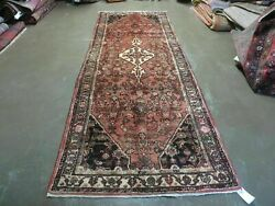 3and039 8 X 10and039 2 Antique Hand Made India Floral Wool Runner Rusted Red Rug 132