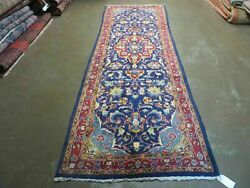 3and0392 X 9and0397 Antique Hand Made Indo Blue Floral Wool Runner Rug 134