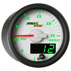 Maxtow 52mm White Double Vision 35 Psi Boost Gauge - Mt-wdv01-35