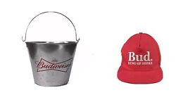 Budweiser Bud Ice Bucket With Handle + Embroidered Cap Bnwot Man Cave