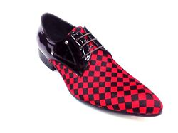 Men Fashion Shoes Zota Lace Up Pony Hair Leather Checker Pointe Toe Hx750 Red