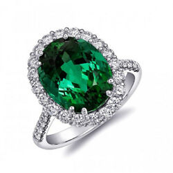 Natural Green Tourmaline 6.46 carats set in 18K White Gold Ring with Diamonds