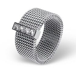 New Sexy Stainless Steel Silver 8mm Wide Mesh Ring Cubic Zirconia Cz Band Size 9