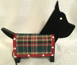 1Vintage FOLK ART SCOTTIE TERRIER DOG TABLE LAMP LIGHT TAIL Activated Plaid