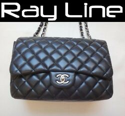 100% authentic CHANEL classic 30 chain shoulder bag Black Lambskin (USED)