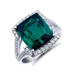 Natural Green Tourmaline 8.59 carats set in 18K White Gold Ring with Diamonds