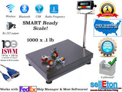 1000lb/0.1lb Bench Shipping Scale   Floor Scale With Lockable Casters   Fed Ex