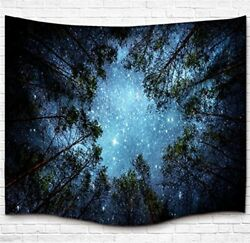 Forest Tapestry Wall Hanging Starry Night Sky Galaxy Milky Way Dorm Decor Home