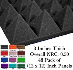 48 Pack 12 X 12 X 3 Inch Pyramid Acoustical Foam Panel For Wall Soundproofing