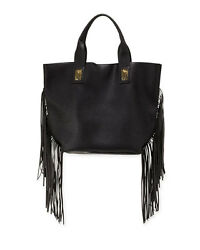 NWT URBAN ORIGINALS DESIGNER CALI FRINGE FAUX LEATHER TOTE BAG BLACK $136 VALUE
