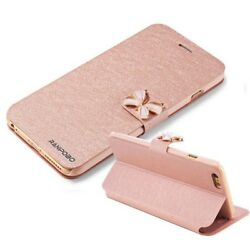 Luxury Crystal bow knot Leather Wallet Card Holder Flip Stand Case Cover For Iph