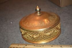 Apollo Brass Deco Covered Candy Dish Flower Garlands Filigree Amber Glass Insert