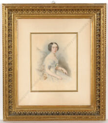 Leopold Fischer 1814-1860 Portrait Of A Young Lady Watercolor 1846