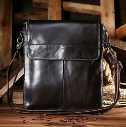 Men's Genuine Real Oil Wax Cow Leather Shoulder Bag Purse S Retro New Coffee
