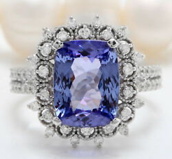 Women Natural Blue Tanzanite And Diamond 4.78 Ctw In 14k Solid White Gold Ring