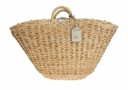 Preowned $1600 DOLCE & GABBANA Bag Purse Beige Straw Leather Shopping Tote Beach