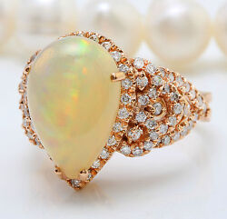 Women Natural Ethiopian Opal And Diamonds 6.74 Ctw In 14k Solid Rose Gold Ring