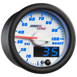 Maxtow 52mm White And Blue Double Vision 100 Psi Diesel Boost Gauge Mt-wbdv01_100