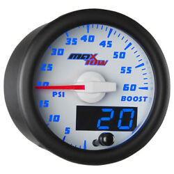 Maxtow 52mm White And Blue Double Vision 60 Psi Diesel Boost Gauge - Mt-wbdv01_60