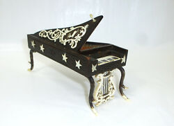Wings Piano - Unusual Wooden Box About 1840 Erbach/dieppe Can Hunting Deer