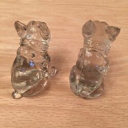 2 French Bulldogs Clear Glass Figurines
