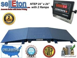 New Warehouse Floor Scale Ntep 24and039 X 24and039 + 2 Ramps 5000 Lb X 1 Lb / Led Display