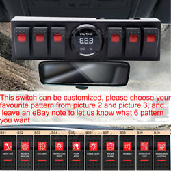 Red 6 Rocker Switch Panel Switch Bracket Digital Voltmeter For 09-16 Jeep JK