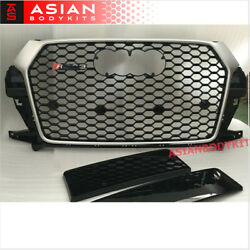 For Audi Q3 8u Facelifted Rs Front Grille Honeycomb Mesh Silver Black 2016+