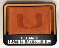 Miami The U Hurricanes Embossed Brown Leather Trifold Wallet New In Gift Tin
