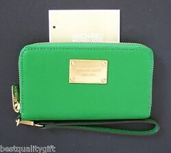 MICHAEL KORS ELECTRONICS PALM GREEN LG LEATHER PHONE CASEWRISTLETCLUTCHWALLET