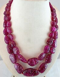 885 CTS NATURAL PINK TOURMALINE RUBELLITE CARVED TUMBLE GEMSTONE BEADS NECKLACE