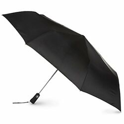 New Totes Mens Blue Line Golf-Size Auto Open Close Compact Umbrella Black One Ne
