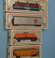 4 Bachmann Ho Scale Cars In Box - Tank, Hopper, Reefer, Log - Gently Used, Nos
