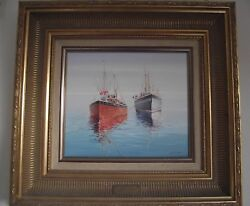 Fishing Boats In Newlyn Harbour By K.b. Hancock Oil On Canvas Nautical Painting