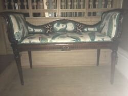 Stunning Antique Carved Wood Bench Seat Victorian Peacock Vtg French Renaissance