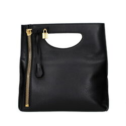 TOM FORD Women's Alix Black Leather Small Top-Handle Bag Made in Italy