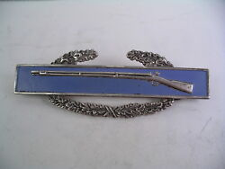 Vintage Us Army Combat Infantry Badge 3 Sterling Not Cleaned