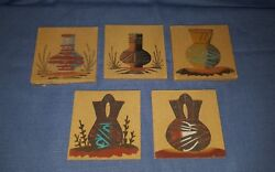 Lot Of 5 Handmade Native American Navajo Sand Art Paintings Pottery 4 Signed